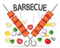 Två steknålar med grillad kebab och grönsaker på en vit grillfester stock illustrationer