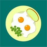Två stekte ägg på en platta med ärtor och bröd stock illustrationer