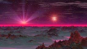 Två stjärnor i himmelfrämlingplaneten royaltyfri illustrationer