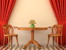 Två stolar och en kaffetabell royaltyfri illustrationer