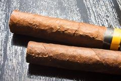 Två stora cigarrer royaltyfri fotografi