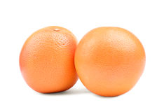 Två stora mogna saftiga apelsiner bakgrund isolerad white apelsiner för citrusfruktcitronlimefrukter ny fruktorangeset tropiska e Royaltyfri Bild