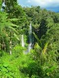 Två stora vattenfall med regnbågen, Bali, Indonesien Arkivbild