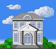 Två-storeyen huset i klassiskt utformar royaltyfri illustrationer