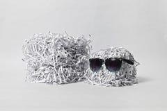 Två strimlade papperskuber som bär solglasögon Arkivbild
