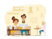 Två studenter som sitter och arbetar med bärbara datorn i kafeteria stock illustrationer