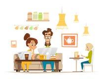 Två studenter som sitter och arbetar med bärbara datorn i kafeteria royaltyfri illustrationer
