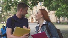 Två studentsamtal på universitetsområde royaltyfria foton