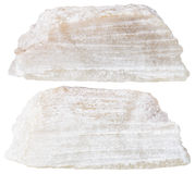 Två stycken av den isolerade mineraliska stenen för talk Royaltyfri Fotografi
