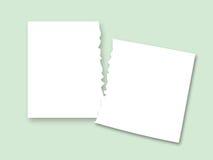Två stycken av det sönderrivna papperet Royaltyfria Bilder