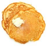 Två Sugar Free Pancakes med smör Royaltyfria Foton