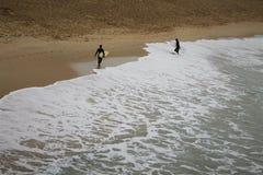 Två surfare som går ut ur havet arkivbild