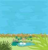Två svanar i det lilla dammet i midlen av gräsplanillustrationen av parförälskelse Fotografering för Bildbyråer