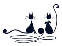 Två svart katter Arkivfoto