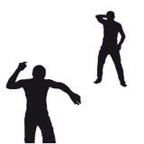 Två svart man som dansar silhouetten Arkivbild