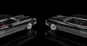 Två svarta bilar på svart bakgrund Arkivbild