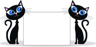 Två svarta katter vektor illustrationer
