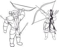 Två svarta konturer av jägare vektor illustrationer