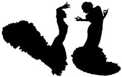 Två svarta konturer av kvinnlig flamencodansare Royaltyfri Fotografi