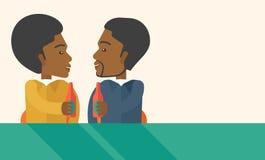Två svarta medarbetare som har gyckel som in dricker öl vektor illustrationer