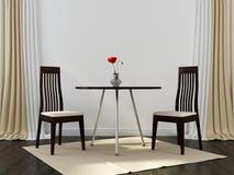 Två svarta stolar och en tabell royaltyfri foto