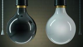 Två svartvita lampor vektor illustrationer