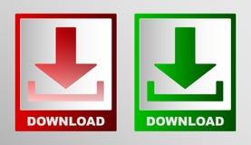 Två symboler av informationen nedladdar indikatorn i röd och grön ton stock illustrationer