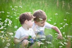 Två syskon i fält Royaltyfria Bilder