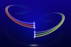 Två system av mång- kulöra optiska kablar för fiber med ljus på blå bakgrund Royaltyfria Bilder