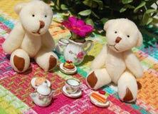 Två Teddy Bears Eating Arkivbilder