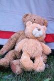 Två Teddy Bears Lying på gräset Royaltyfri Bild