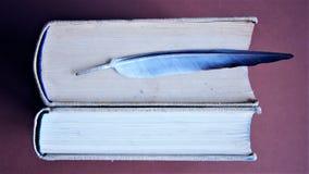 Två tjocka böcker och fjäder Arkivfoton