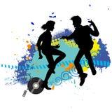 Två tonår på ett disko Arkivfoton