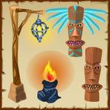 Två totem, brand och lykta, forntida symboler vektor illustrationer