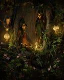 Två trädskälmskt naturväxen på natten, 3d CG Royaltyfri Foto