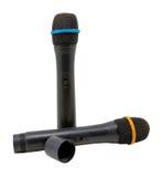 Två trådlösa mikrofoner som isoleras på en vit bakgrund Royaltyfria Bilder