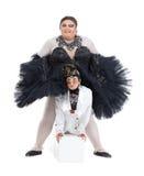 Två transvestit som tillsammans utför Arkivbilder