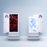 Två trappa med magiska dörrar stock illustrationer