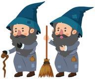 Två trollkarlar med rottingen och den magiska kvasten stock illustrationer