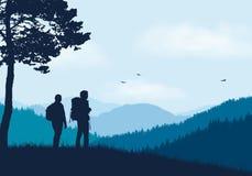Två turister med ryggsäckar som står i berglandskap med stock illustrationer