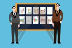 Två unga affärsmän Bräde med finansiella diagram vektor illustrationer