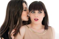 Två unga flickvänner som delar deras hemligheter, studio Arkivbild