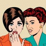 Två unga flickvänner som talar, komisk konstillustration royaltyfri illustrationer