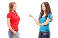 Två unga kvinnlig som har en konversation Royaltyfria Bilder