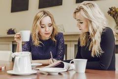 Två unga kvinnor på mötet i konferensrum arkivfoton