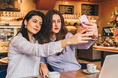 Två unga kvinnor sitter i ett kafé på en tabell framme av en bärbar dator och gör selfie på en smartphone Möte av två vänner arkivfoton