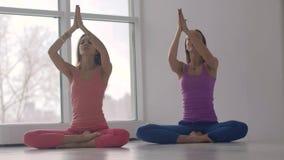 Två unga le kvinnor som tillsammans öva yoga synkront stock video