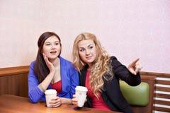 Två unga nätta caucasian flickor Fotografering för Bildbyråer