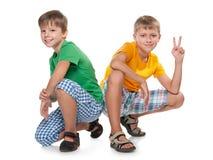 Två unga pojkar Fotografering för Bildbyråer