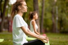 Två unga slanka flickor sitter i lotusblommapositionerna med bokslutögon som gör yoga på yogamats på grönt gräs i, parkera arkivfoton